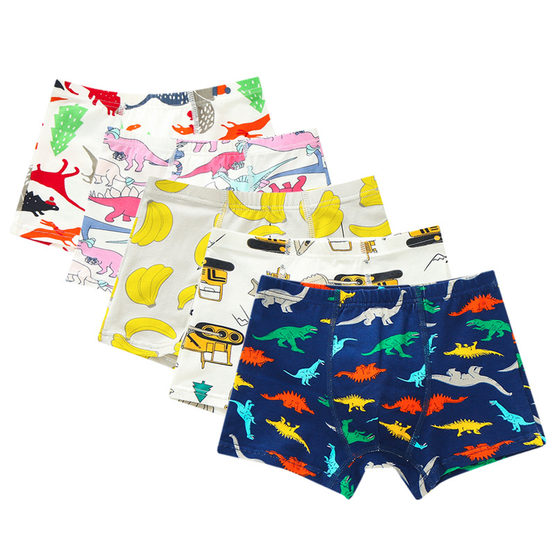 Boxer Briefs Boys Underwear Dinosaur Kids Cartoon Children's Cotton 1pcs title=