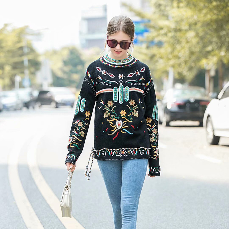 SEQINYY Black Sweater 2020 Autumn Winter New Fashion Design Women Long Sleeve Embroidery Flowers Behemia Pullover Top