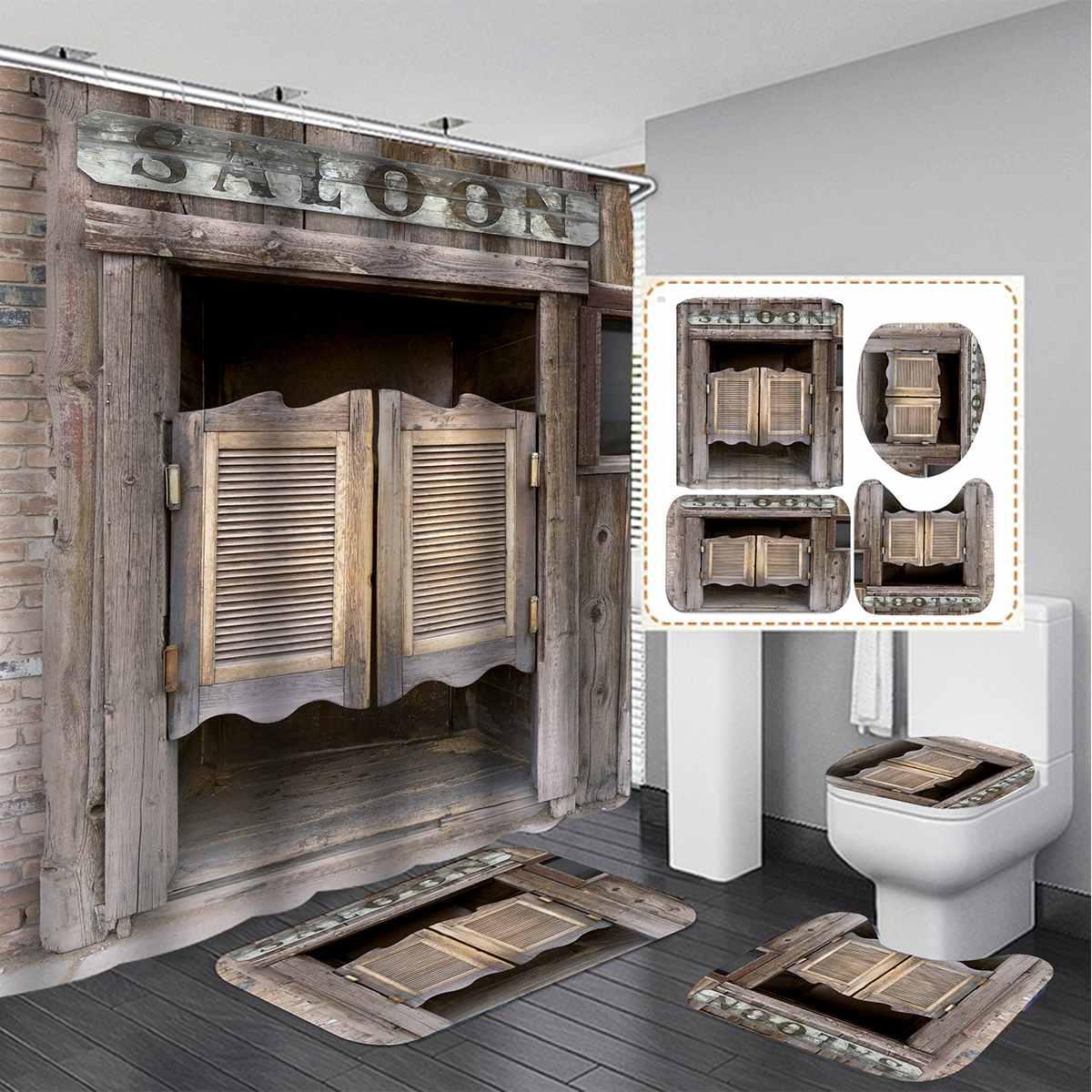 3d Rustic Vintage Old Wooden Door Waterproof Bath Shower Curtain Anti Slip Bathroom Rugs Set Kitchen Bath Mat Toilet Cover Shower Curtains Aliexpress