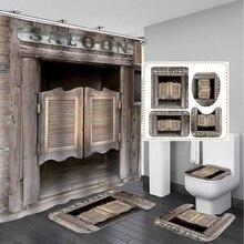 3D rústico Vintage puerta de madera vieja impermeable Cortina de ducha de baño antideslizante alfombras de baño Set cocina alfombra de baño cubierta de inodoro