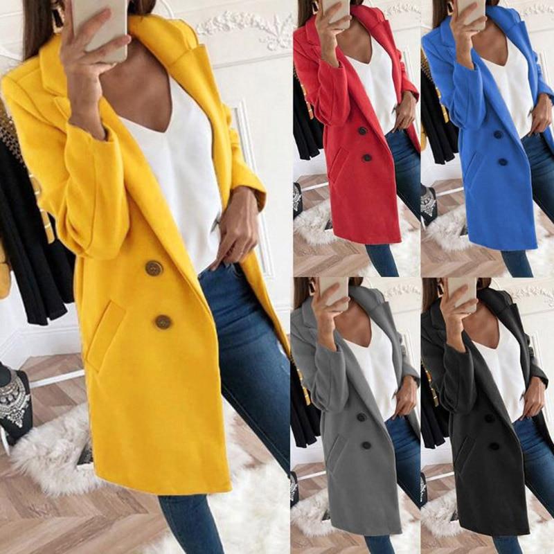 Women Woolen Coat Solid Color Warm Long Sleeve Turn-down Collar Outwear Jacket Ladies Autumn Winter Casual Elegant Overcoat