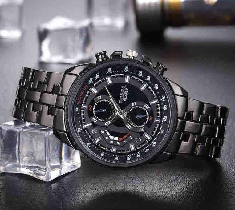 Men Watches Black Stainless Steel Mens Watch Men Sports Watches Quartz Wristwatch Relogio Masculino Montres Homme Horloge Mannen