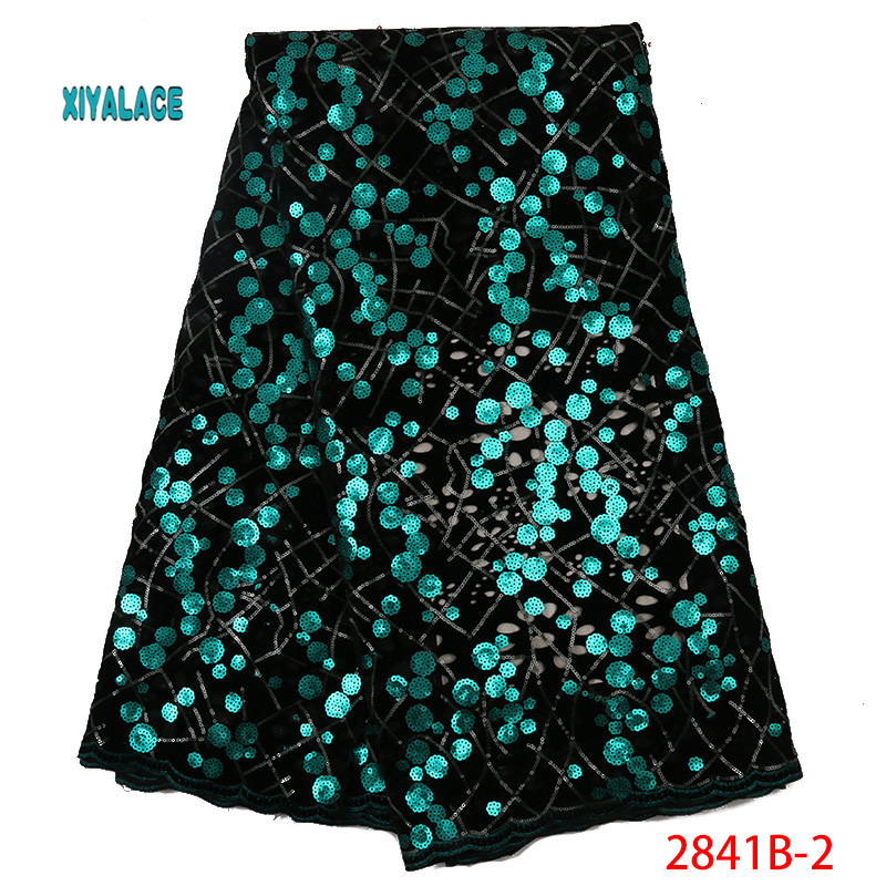 2019 African Lace Fabric Nigerian French Lace Luxury High Quality Sequins Lace Fabric Fabric For Wedding YA2841B-2