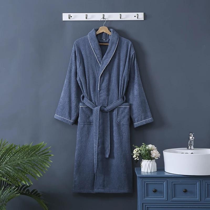 Terry Towel Bathrobe Sleepwear Robe Women Men's Long Bath Robes Couple's Dressing Gown Sleep Gown 100% Cotton Terry Robe Kimono