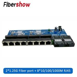 Media Converter Fiber Optical Gigabit Ethernet switch PCBA 8 RJ45 UTP and 2 SC fiber Port 10/100/1000M Board PCB 1PCS