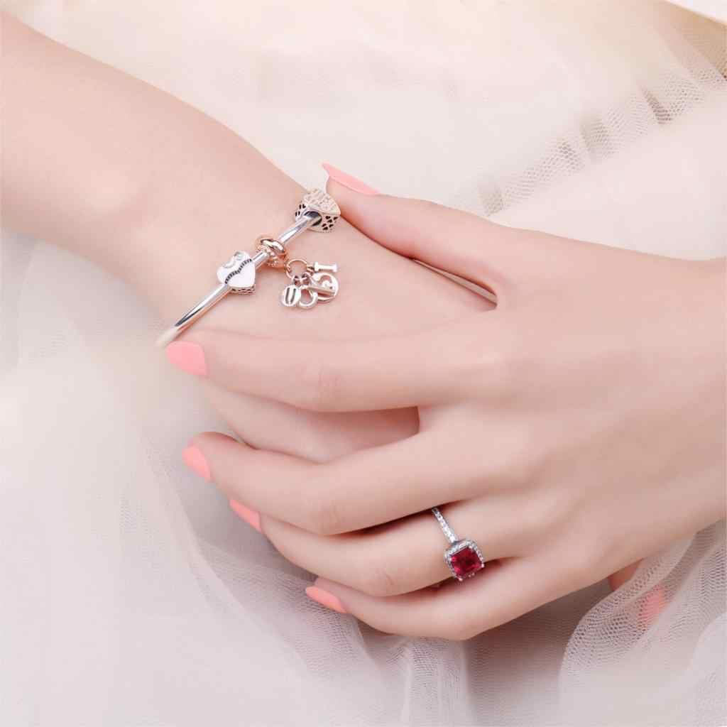 Jewelrypalace 925 Sterling Silber Engagement Buchstaben Murano Glas Rose gold Überzogene Charme Armbänder Geschenke Für Sie Mode Schmuck
