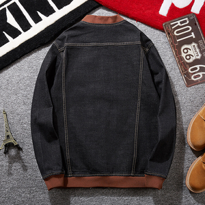 Image 2 - Plus size  8XL 7XL  Fashion Hooded Casual Cotton Coats New Autumn Winter Preppy Style Slim Fit Fake two pieces Denim Jacket Men