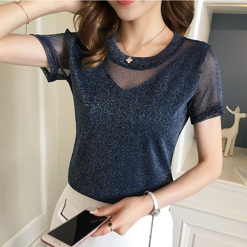 Women Spring Summer Style Lace Blouses Shirts Lady Casual Short Sleeve O-Neck Lace Blusas Tops DD8037