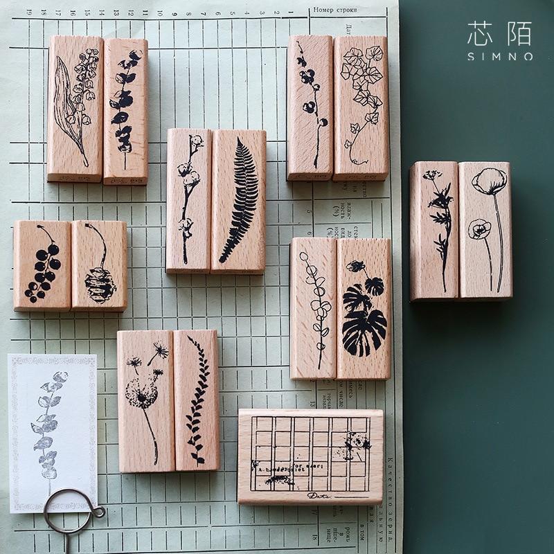 1 Set Vintage Plants Leaf Decoration Stamp Wooden Rubber Stamps For Scrapbooking Stationery DIY Craft Standard Stamp