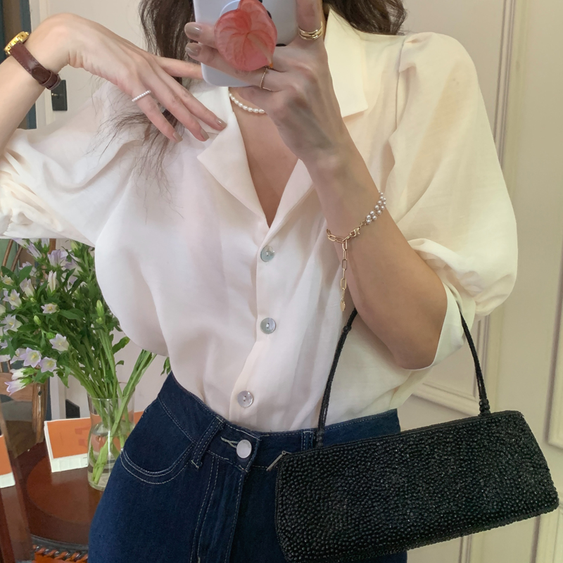 H24b0b7bbb360473ba6d472dc6a2c78aa9 - Summer Notched Collar Short Puff Sleeves Minimalist Buttons Blouse