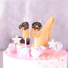 Alta imitação de bolinhos de chocolate números velas 0 1 2 3 4 5 6 7 8 9 velas de aniversário para crianças decoração do topper cupcake