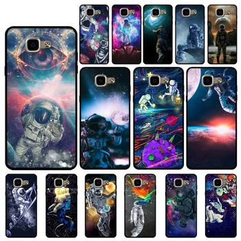 YNDFCNB Trippy Art aesthetic Space astronaut Soft Black Phone Case for Samsung A6 A8 Plus A7 A9 A20 A20S A30 A30S A40 A50 A70 image