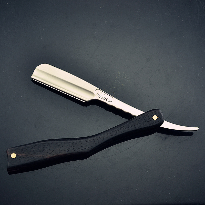 Men Shaving Straight Razor Natural Beech Wood Handle Carbon Steel Blade Manual Barber Shaver For Feather Blade G0131