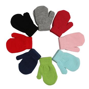 1 para 0-6 lat zimowe ciepłe rękawiczki z dzianiny dla dzieci rękawiczki rękawiczki grube wełniane rękawiczki pełne rękawiczki utrzymuj ciepło tanie i dobre opinie Unisex Akrylowe Kaszmirowy Stałe Nadgarstek Moda