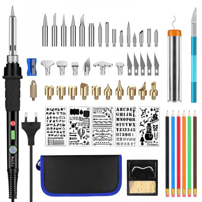 220V 60W Adjustable Soldering Iron Kit Wood Burning Carving Pyrography Pen Kit Welding Wood Embossing Burning Set Welding Tips