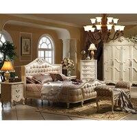New design birch wood bed 1.8m wood frame with resin carve flower white bed set Skórzane łóżko 1.8m GH02