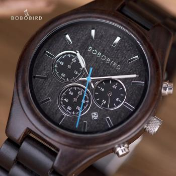 BOBO BIRD Wooden Chronograph Men's Watches zegarek meski Stopwatch Male Ebony Wood Calendar Wristwatch Man Wholesale in Gift Box - discount item  63% OFF Men's Watches