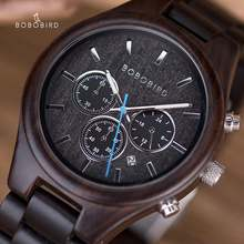 Bobo bird деревянный хронограф мужские часы zegarek meski секундомер
