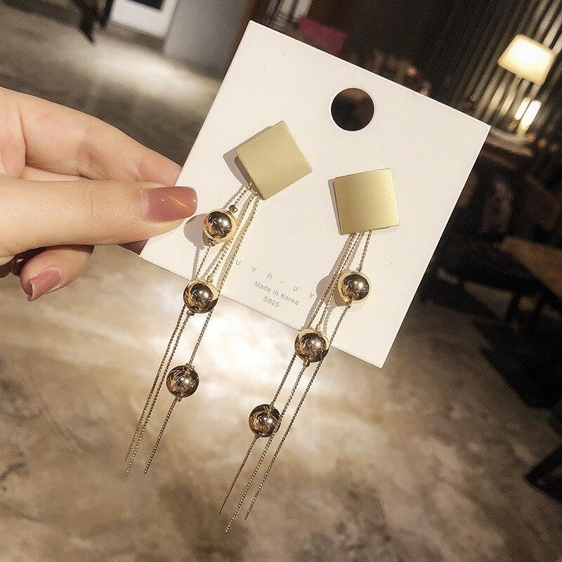 WOMEN brand Dangle gold color metal Beads Ball Elegant Large Earrings Long Design Vintage Tassel Drop Dangle Earrings