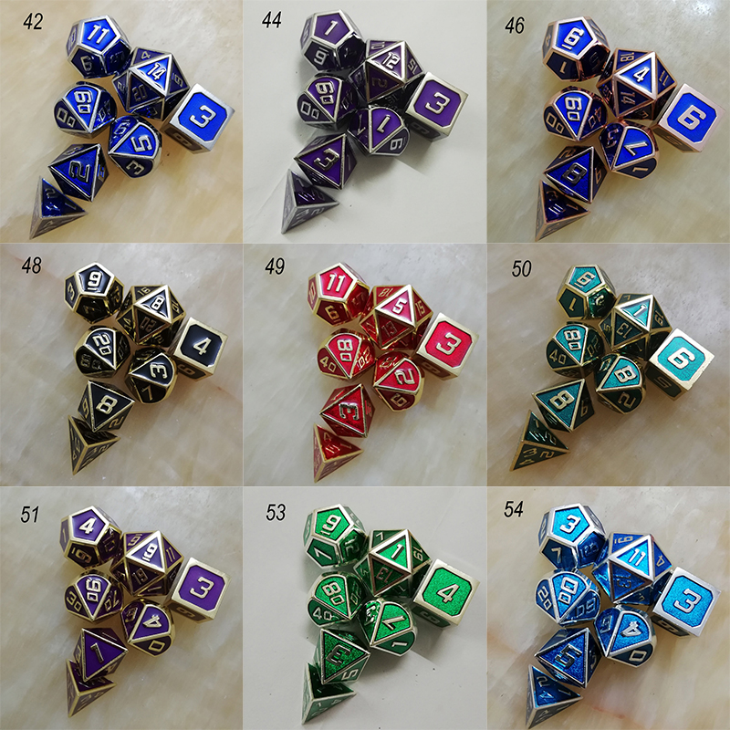 rpg dice polyhedral sets metal dnd dungeons d20 10 8 12 and dragons table games Zinc alloy dices digital pattern