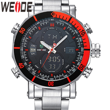 WEIDE יוקרה מותג אנלוגי ספורט דיגיטלי ספרה תאריך גברים של קוורץ עסקים סיליקון חגורת שעון גברים שעוני יד Relogio Masculino