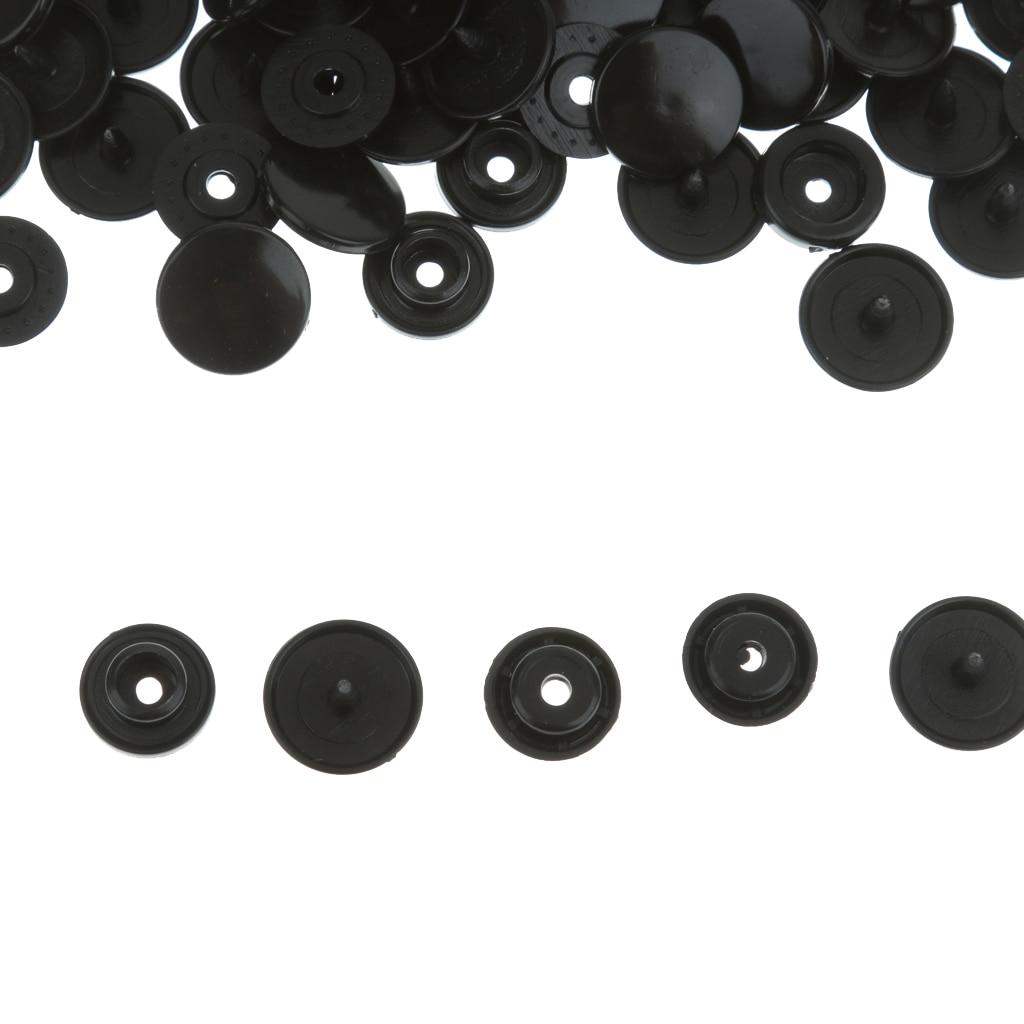 Snap 100 шт T5 Snap Пластиковые кнопки Poppers черные цвета для тканевых подгузников