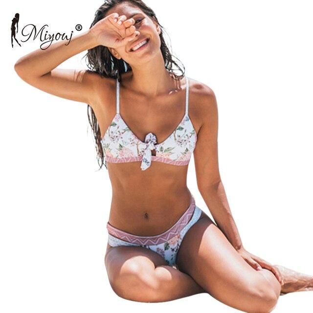 Miyouj maillot de bain maillots de bain femmes imprimé fleuri avec nœuds, soutien gorge Push Up, Bikini, ensemble deux pièces, pour les femmes, collection 2018