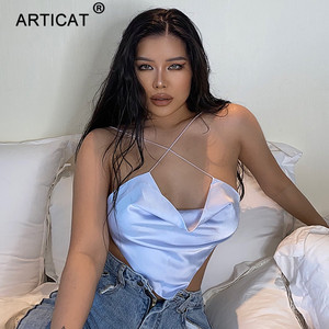 Articat Solid Satin Backless Tank Tops For Women Sexy Clubwear Crop Top Female Slim Bandage Bustier Short Casual Vest Ladies