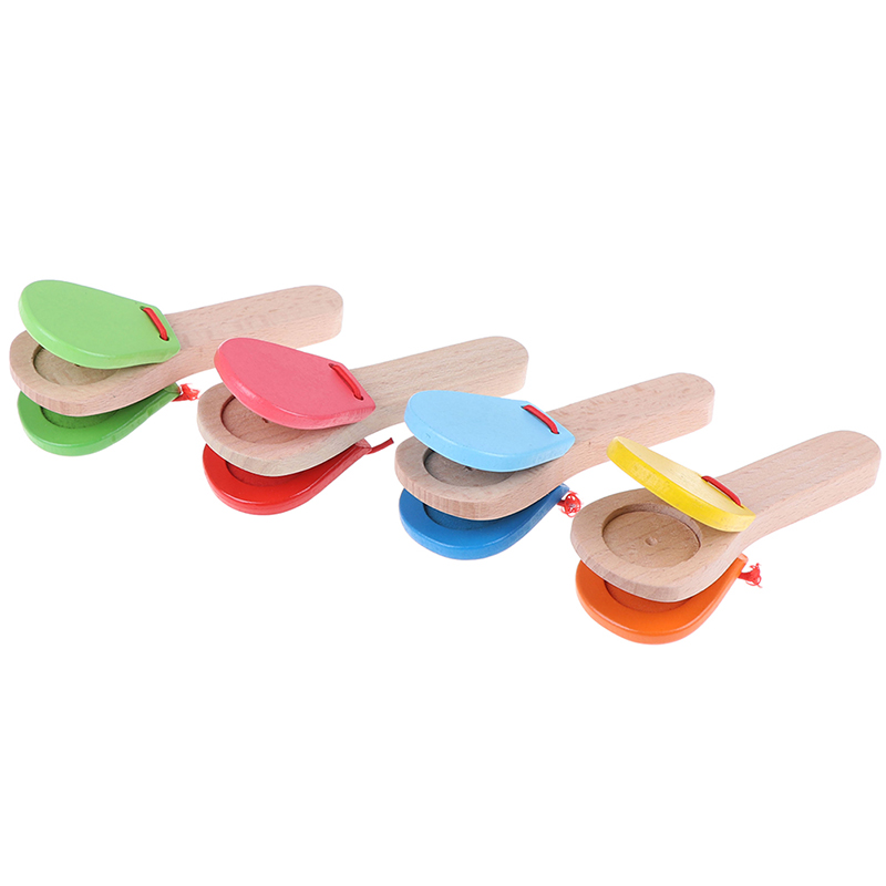 Early Educational Toys Wooden Percussion Handle Clapping Castanets Board For Baby Musical Instrument Preschool