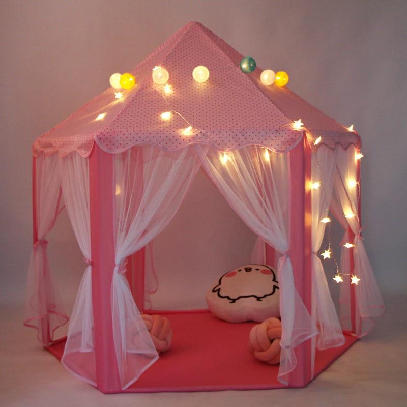 Children Play Tent Princess Pink Castle Tents Portable Boys Girls Indoor Outdoor Garden Folding Lodge Kids Balls Pool Playhouse