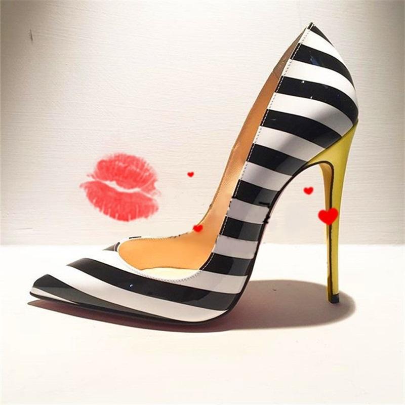 Sexy Black And White Strip High Heel Shoes Yellow Heels Pointed Toe Sky High Heel Wedding Shoes Plus Size Women Pumps