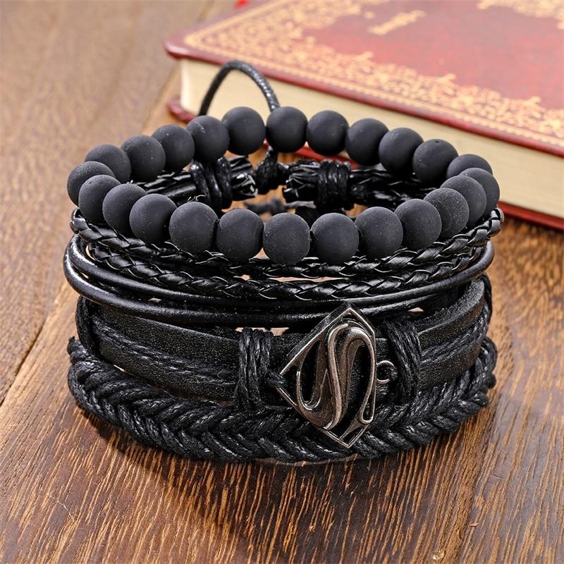Braccialetti con perline nere Vintage IFMIA per uomo moda triangolo cavo bracciale e braccialetti in pelle multistrato largo avvolgere gioielli 2020 2