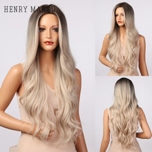 HENRY MARGU Blonde Platinum Ombre Brown Synthetic Wig for Women Long Wavy Natural Wigs Cosplay Middle Part Wig Heat Resistant