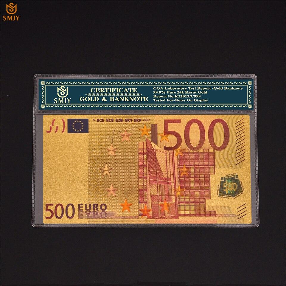 Золотая банкнота евро 500 Европейская позолоченная валюта, сувенирная коллекция банкнот с защитой рукава