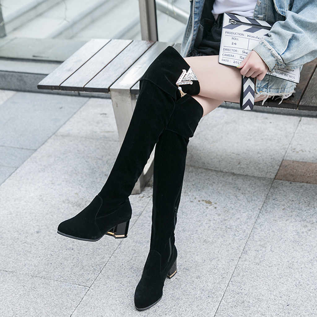 Frauen Stiefel Damen Retro Über Knie Erhöht Keile Schuhe Lange Rohr Ritter Stiefel Weibliche Mode 2019 Herbst Schuhe C50 #