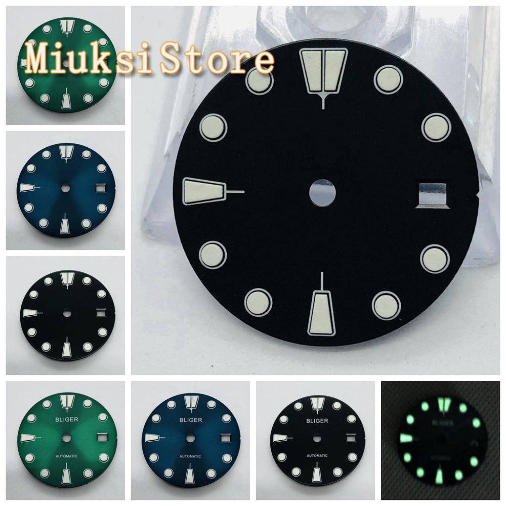 Bliger 1pcs 28.5mm Black/blue/green/ Sterile Dial For ETA 2836/2824,Mingzhu DG2813/3804,Miyota 82 Series Movement