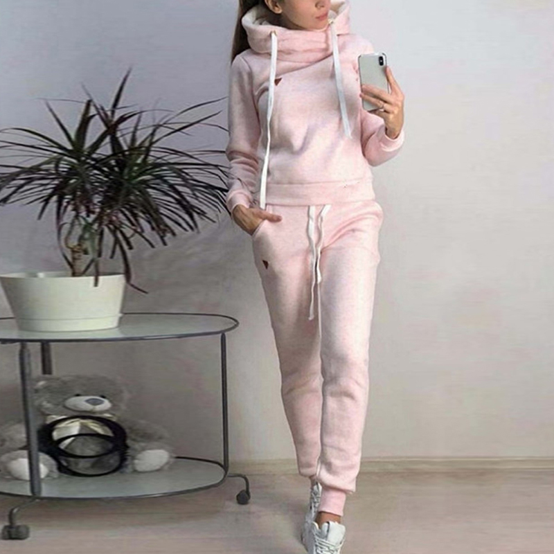 PUIMENTIUA Women Hoodies Pant Clothing Set Casual 2 Piece Set Warm Clothes Solid Color Tracksuit Women Set Top Pants Ladies Suit