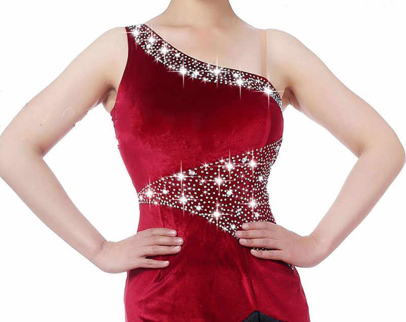 גבוהה-סוף לטיני ריקוד שמלת נשים יין אדום אלכסוני כתף למתוח קטיפה שחור שוליים חצאית תחרות ביצועי בגדים