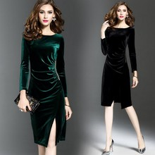 Plus Size Women Dress Evening Party Dresses Autumn Vintage Elegant Velvet Long Sleeve Green Black