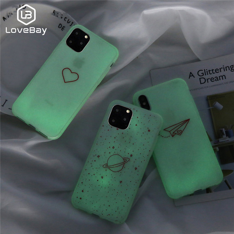 Lovebay Luminous Case For IPhone 7 6 6s 8 Plus X 11 Pro XR XS MAX Cartoon Love Heart Stars Simple Cover Soft TPU Silicon  Coque