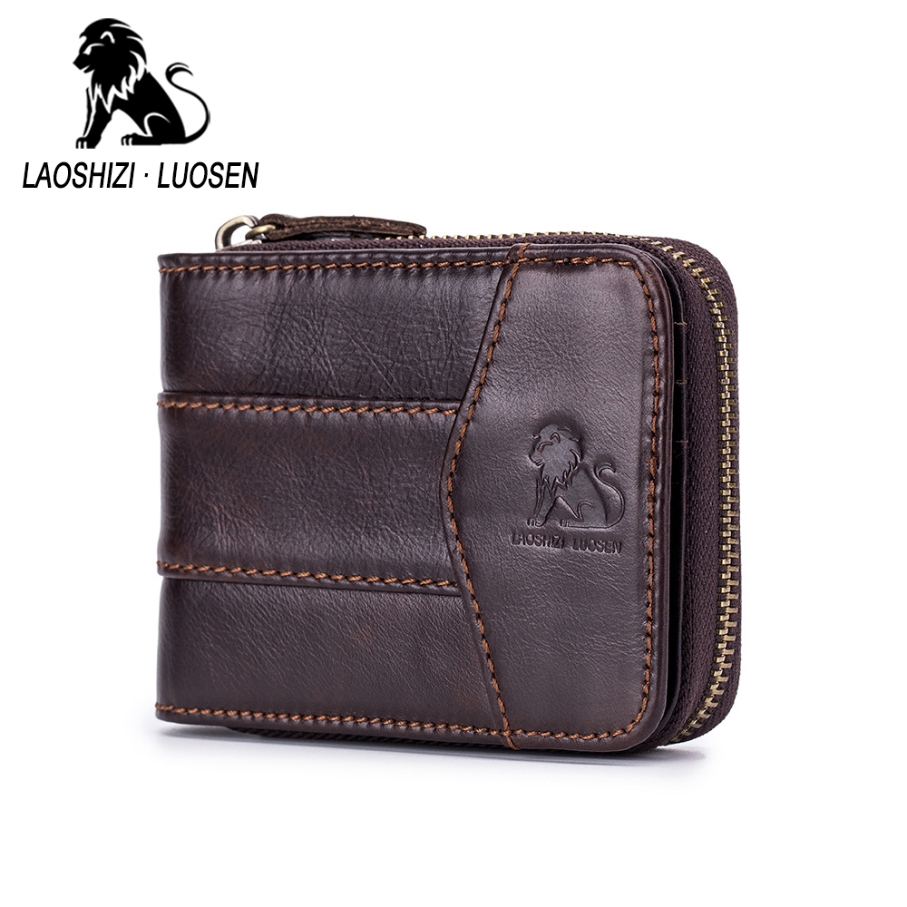 Brand Retro Genuine Leather Men's Wallets Coin Pocket Purse Cowhide Leather Zipper Wallet For Male Card Holder Purse Man Wallets