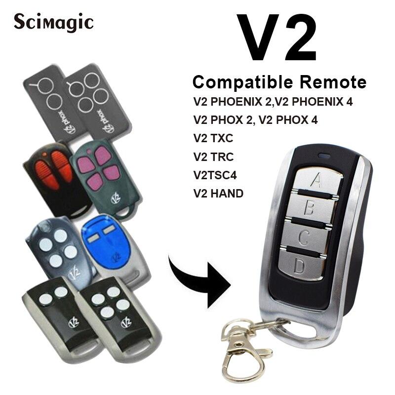 2020 NEW V2 Garage Door Remote Control V2 TXC2, TXC4 ,PHOX 2, PHOX 4,TPR1,TRR4 Purple Garage Remote Rolling Code Fixed Code