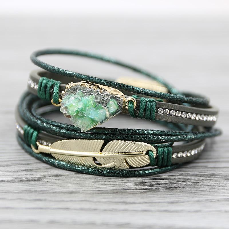 STRATHSPEY Green Leather Bracelets for Women Multilayer Druzy Bracelet Vintage Feather Charm bracelet Pulseras mujer 2020