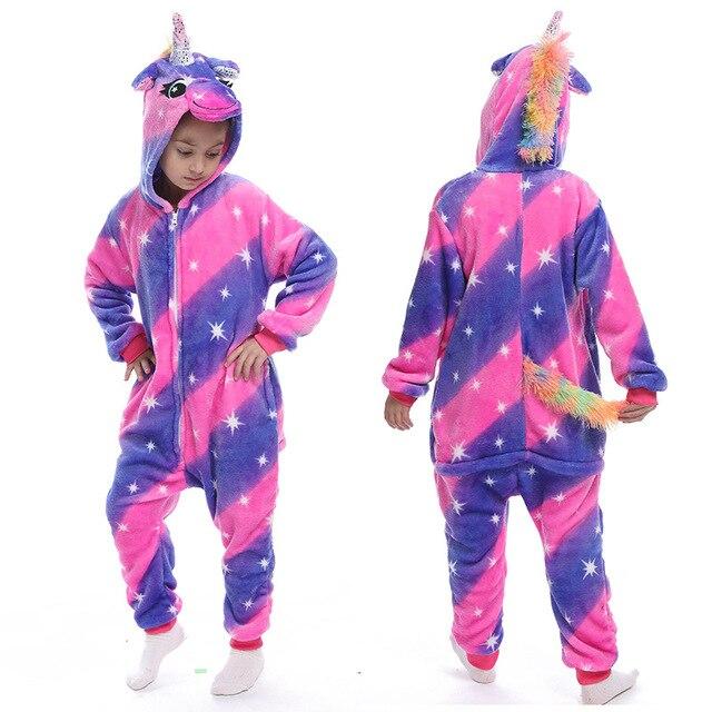 Flannel Unicorn for Kids Pajamas Boys Girls Sleepwear Children Panda Jumpsuit Kids oneises for Licorne Jumpsuit 4