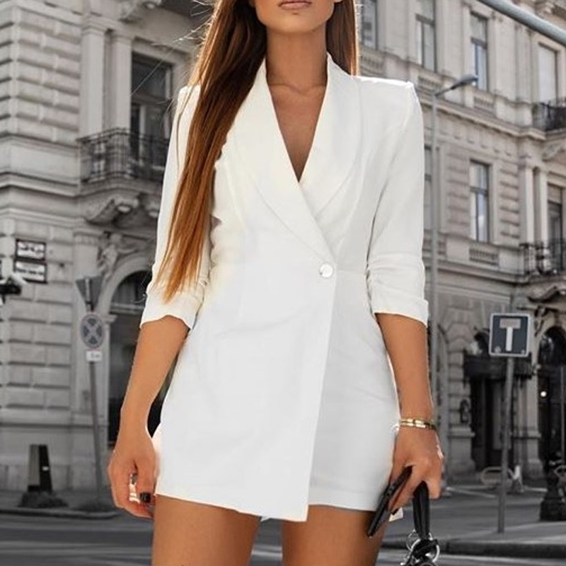 Women Blazer Jumpsuits Romper V--neck Female Jumpsuit Ladies Button Elegant Overalls Streetwear