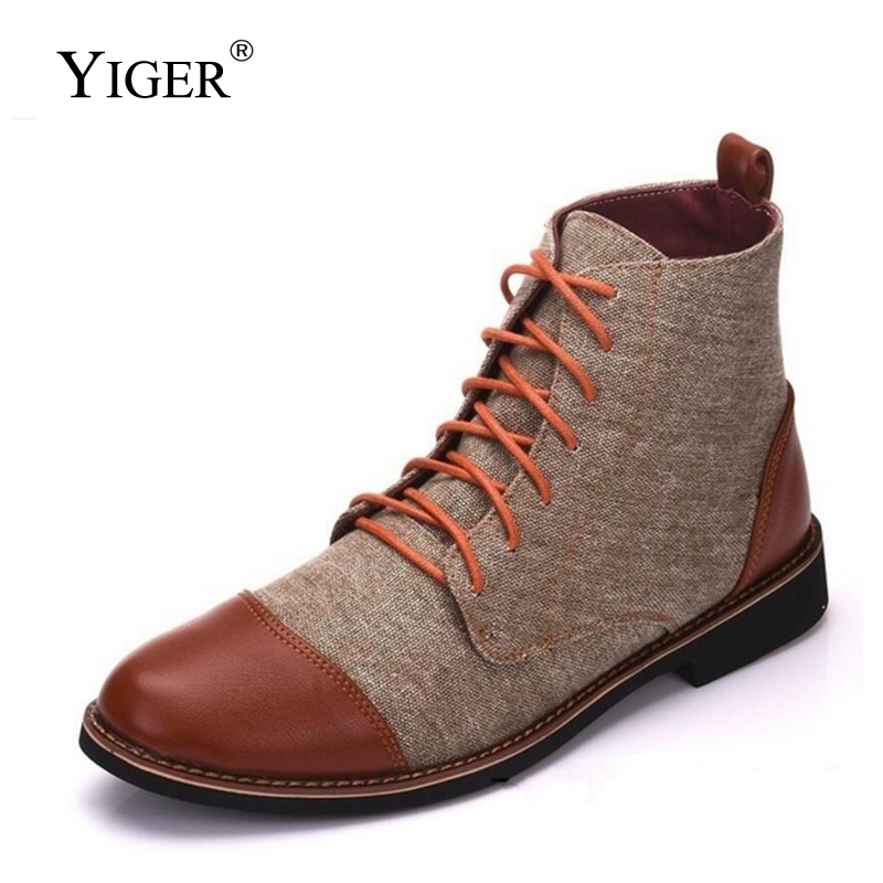 YIGER New Men Casual Boots Super Large Size Canvas Leather Boots Lace-up Man Desert Boots Male Casual Martins Boots   0357