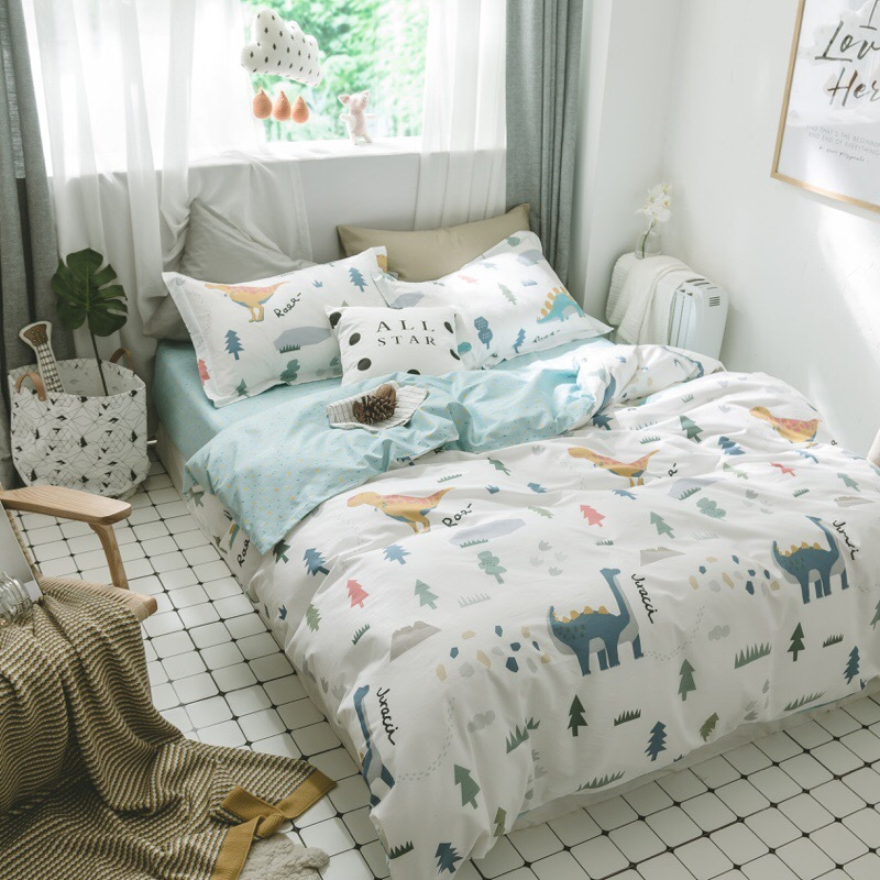3Pcs Baby Dinosaur Bedding Set Cotton Crib Bed Linen Kit Cartoon Animal Includes Pillowcase Bed Sheet Duvet Cover Without Filler