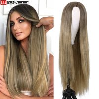 Wignee Long Straight Synthetic Wigs for Women Middle Part Pink Color Ombre Brown Cosplay Wig Natural Hair Heat Resistant Hair