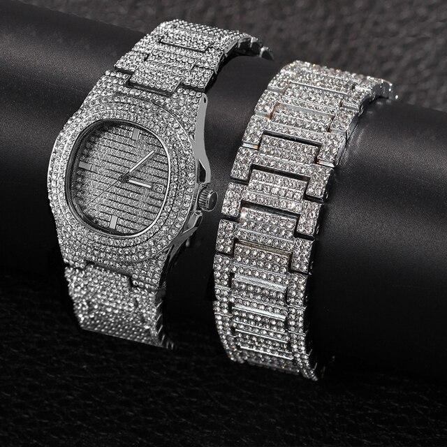 De Hip Hop para hombres pulseras Bling cristal con diamantes Miami de la cadena de oro de Color de plata reloj de los hombres + conjunto de pulsera de lujo de Hip Hop Jewe 1