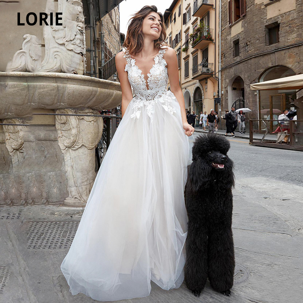 LORIE Wedding Dresses Lace 2020 Tulle Appliques Boho Bridal Gowns Sleeveless V-neck Custom Made Wedding Gowns Plus Size No Train